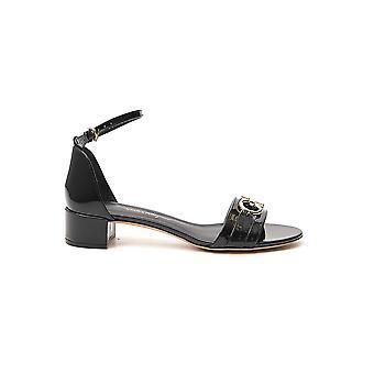 Salvatore Ferragamo 01p087704695 Women's Black Leather Sandals