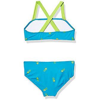 Essentials Girl's 2-Piece Bikini Set, Aqua Pineapples, XL