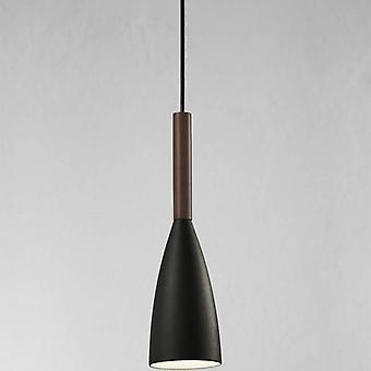 1 Licht slim dome plafond hanger zwart, geoliede walnoot 10cm, E27