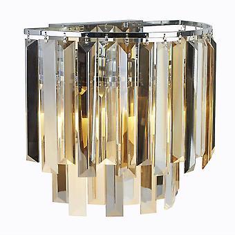 2 Lichte Muur Licht Chroom, Glasschaduw, E14