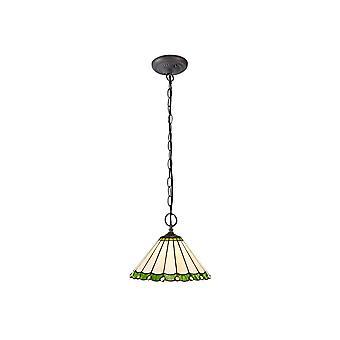 Luminosa Lighting - 2 Light Downlighter Plafond hanger E27 Met 30cm Tiffany Shade, Groen, Crystal, Aged Antique Brass