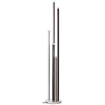BRILLIANT lampa cembalo LED golvlampa 5flg alu/svart/brun | 5x 4W LED integrerad, 362lm, 3000K | Steglös med fotdimmer