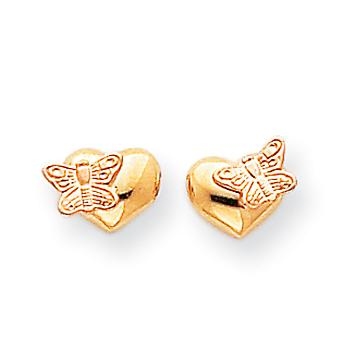 14k Yellow Gold Satin Open back Post Earrings Polished and Rhodium Butterfly Angel Wings Love Heart Screw back Earrings