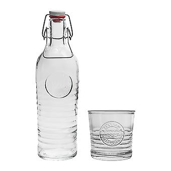 Bormioli Rocco Officina 1825 Table Serving Water Bottle with Swing Top Lid and Tumbler Glasses - 7pc Set