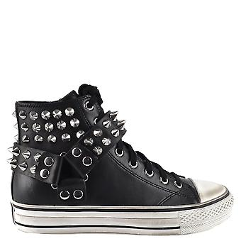 Ash GHETTO Trainers Black Leather And Studs