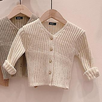 Autumn Baby Sweater Single Breast Knitwear V Neck Long Sleeve Toddler Cardigan
