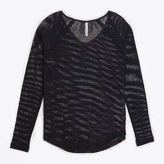 חולצת רשת שרוול ארוך - אניה סייהולט - שחור