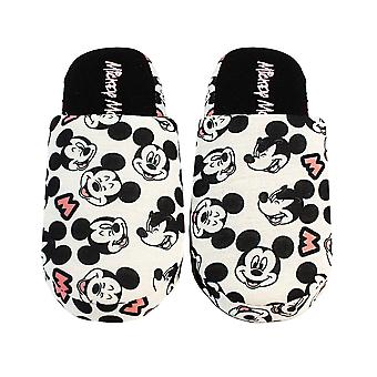 Disney Mickey Mouse Slippers For Women | Ladies Black & White Polyester Slip On House Shoes With Grip Sole | Adults Disney Gifts