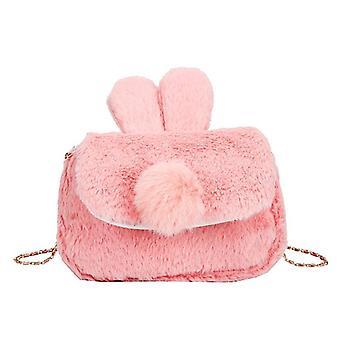 Cute Cartoon Rabbit Shape, Fur Messenger Bag And Kids