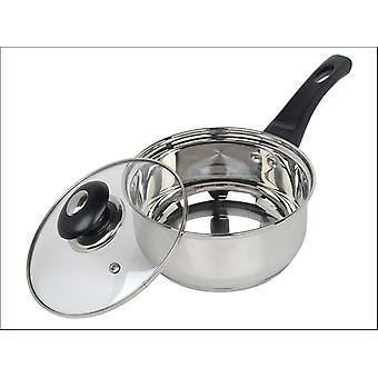 Home Cook Saucepan + Glass Lid Stainless Steel 18cm HHSS2518