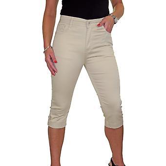 Women's Slim High Waisted Stretch Jeans Capri Ladies Chino Sheen Button Cuff Crop Trouser 10-20