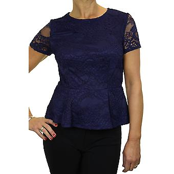 Women's Stretch Crochet Lace Peplum Top Ladies Smart Short Sleeve Fully Lined Business Evening Blouse Navy Blue 8-12