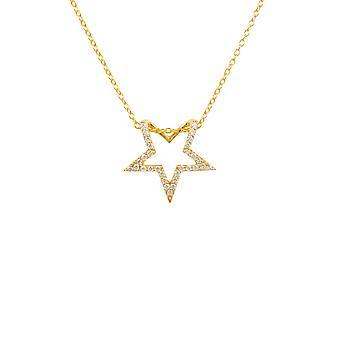 Diamond Gemstone Star hängsmycke halsband gult guld runt lysande vit gåva
