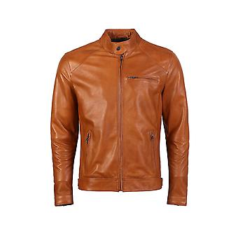 Kris men's caramel brown leather jacket