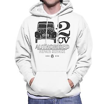 Citro n 2CV Auktoriserad reparationsservice svart logo Män's Hooded Sweatshirt