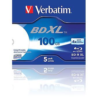 Verbatim bd-r xl 100-†gb - disco Blu-ray con velocidad de escritura 4x, imprimible, estuche joya, paquete de 5