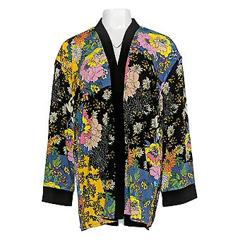 Attitudes by Renee Women's Top Renee Reversible Kimono Jacket Black A347296
