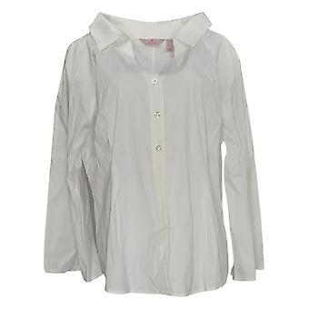 Laurie Felt Women's Blusa frontal con botón superior W/ Detalle de costura Blanco A346740