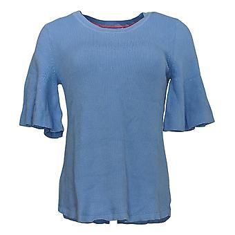 Isaac Mizrahi En direct! Women's Sweater Flounce Short-Sleeve Blue A352388