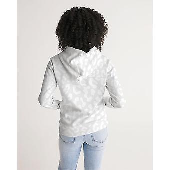 Women's Hoodie White Leopard Print