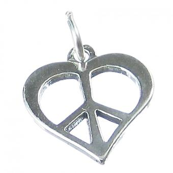 Peace And Love Heart Sterling Silver Charm .925 X 1 Hearts Charm - 4154