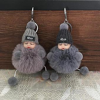 Cute Cartoon Sleeping Doll Keychain Fur Ball Plush Women Handbag Car Key Holder