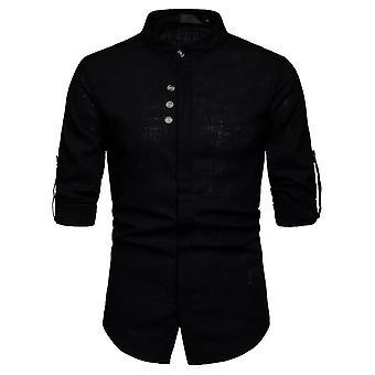 Men's Linen Stand-up Collar Chemise à manches longues à trois boutons