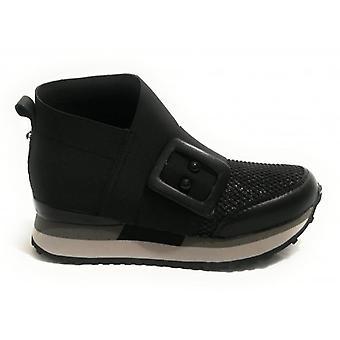 Deri ve Siyah Kumaş Kadın D19ap04 Raelene Spor Ayakkabı Üzerinde Apepazza Slip