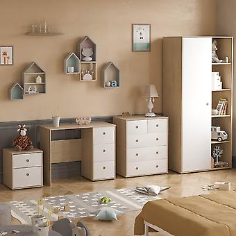 Neptune 4 Piece Bedroom Furniture Set Desk, Bedside Table, Chest of Drawers, Wardrobe Two-tone, White & Oak