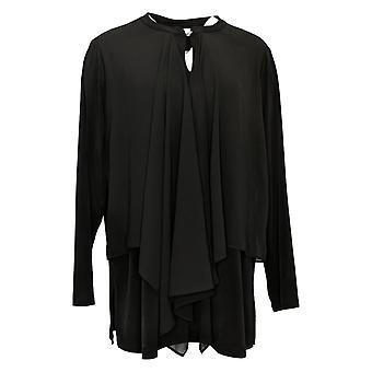 Susan Graver Women's Top Plus Liquid Tunic Chiffon Overlay Black A382430
