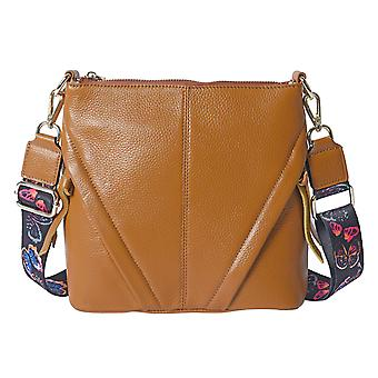 100% Genuine Leather Crossbody Bag with Patterned Shoulder Strap 23x7x22cm