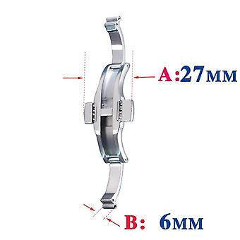 Stainless Watch Strap Butterfly Solid Steel Buckle
