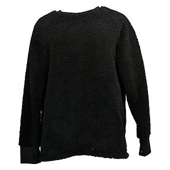 Cuddl Duds Mujeres's Jersey Shaggy Sherpa Pullover Top Negro A381801