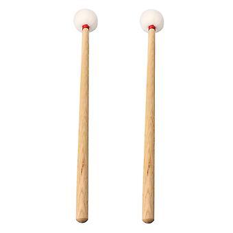Timpani Mallets Stick com alça de madeira rodada feltro conjunto de cabeça de 2