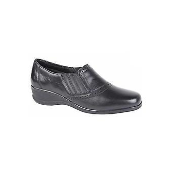 Mod Comfys Lois Ladies Leather Slip On Shoes Black