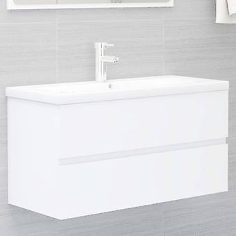 vidaXL Waschbeckenunterschrank Weiß 90x38,5x45 cm Spanplatte