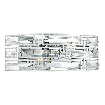 DAR SEVILLE Wandleuchte Kristall poliert Chrom Rahmen, 2x E27