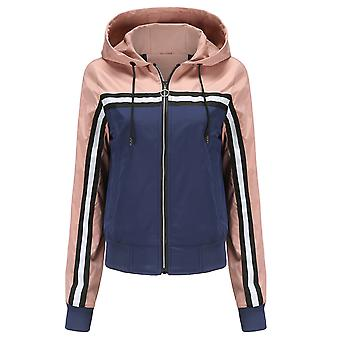 Női színes blokk kabát zsinóros kapucnis Zip Up Sport Szélálló Szélfogó