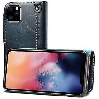 ekte lær lommebok tilfelle kortspor for iphone11pro 5.8 blå på1257