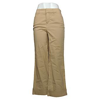 Martha Stewart Pantalones de mujer regular Chino wide-leg cuffed beige A354315