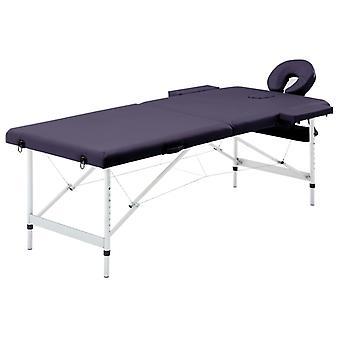 vidaXL Mesa de Masaje plegable 2 Zonas Aluminio Púrpura