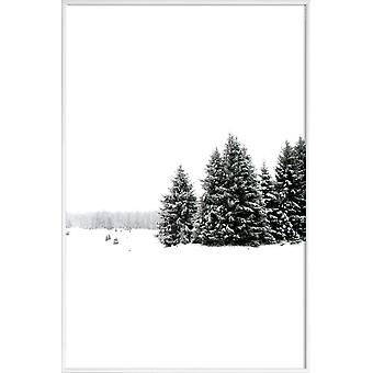 JUNIQE Print -  White White Winter 2/2 - Wälder Poster in Grau & Schwarz