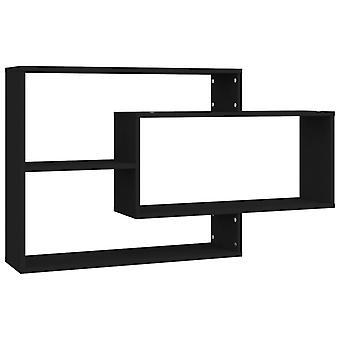 vidaXL Seinähyllyt Musta 104×24×60 cm Lastulevy