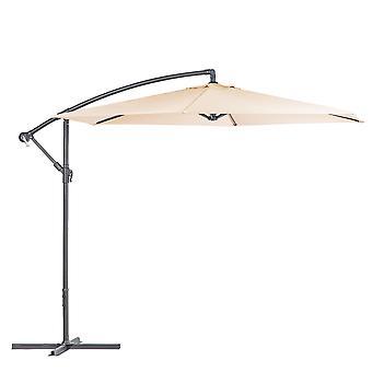 Cantilever Garden Parasol Imperméable Patio Parasol Parasol 2.95 x 2.5m Crème