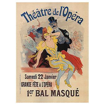 Vintage kunstnerisk plakat Théâtre De L'Opéra. Bal Masqué - Lærred Print, Væg Kunst Decor