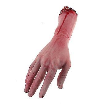 1pc Cortado Miedo Cortado Sangrienta Látex Falso Tamaño De La vida Brazo Mano Halloween Prop Fiesta Embrujada
