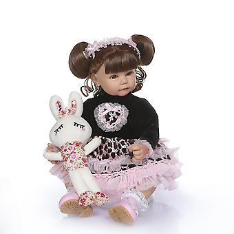 50Cm de pelo rizado largo princesa niña niña muñeca de silicona suave bebe muñeca realista renacido juguetes para niños brinquedos bebé