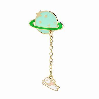 Cute Enamel Lapel Brooch Pin Set Cartoon Astronaut Spaceship Brooches Novelty Funny(GROUP4)