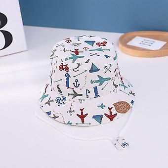 Summer kids boy cartoon printing cotton fisherman hat baby sun caps for girl children bonnet