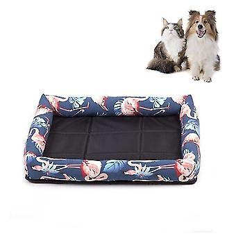 Summer Pet Non-removable Side Dog Mat Pet Bed, Specification: M 53X40X6cm(Flamingo)